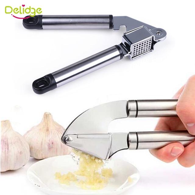 Delidge 1 pc Garlic Press Stainless Steel  Alloy Ginge Crusher Garlic Presses Hand Press Garlic Ginger Presser Slicer Masher
