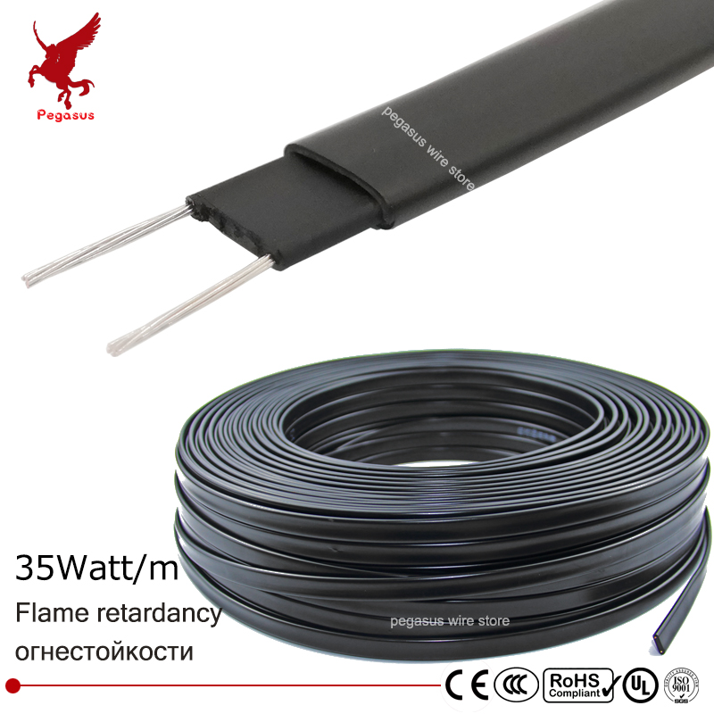 100m Flame retardant type heating cable W 12mm Self regulat temperature Water pipe protection Roof deicing