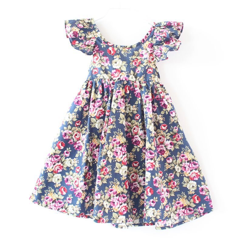Flower     Girls     Dress   For 1-7 Years Kids A-line Holiday Beach   Dress   Baby   Dresses   Children's Clothing KF512