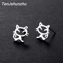 925 Sterling Silver Prevent Allergy Cut Cat Stud Earrings for Women Earrings Jewelry brincos boucle d'oreille femme EH590(China)