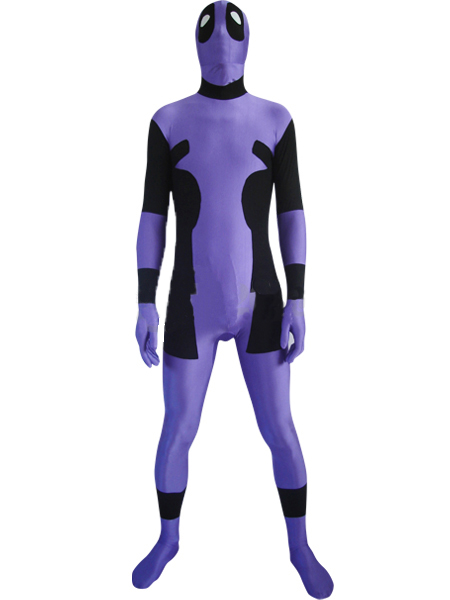 Purple Deadpool Cosplay Costume Lycra Spandex Zentai Bodysuit for Halloween Party Custom Made