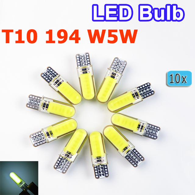 flytop 10 x Car LED Silicone Small Lights T10 194 W5W COB White Light Car-styling Blue Red Yellow Green Pink Crystal Blue Color