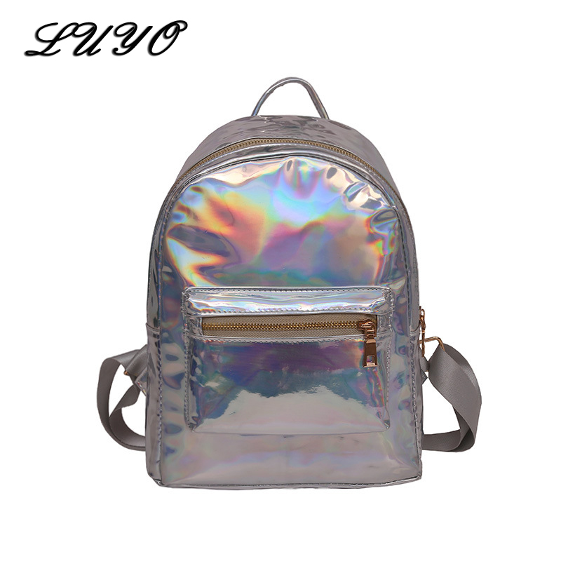 Luyo Silver Pink Small Laser Backpack Leather Holographic Backpacks Shiny Women School Bags For Teenagers Girls Mochila Feminina