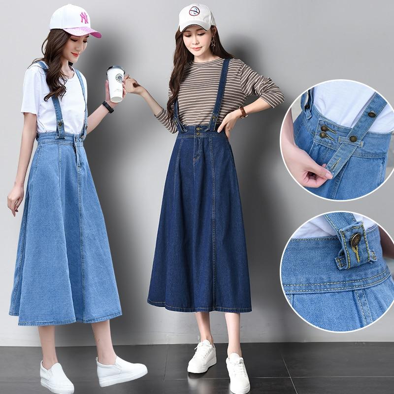 Women Vintage Preppy Style High Waist Slim Pleated A-line Long Denim Jeans Brace Strap Skirt Female Plus Size Basic Skirts Blue a-line