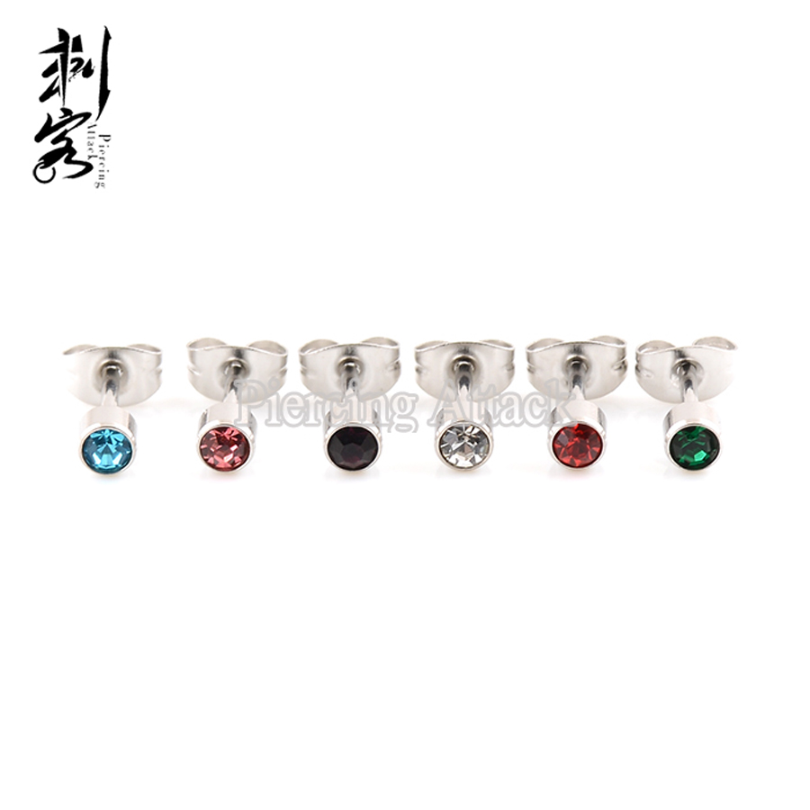 Surgical Stainless Steel Longer Post Ubend Nose Pin Ring Opal Stone 20 gauge 20g