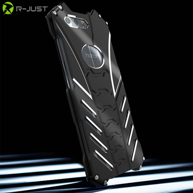 Batman Armor Heavy Duty Metal Aluminum Protect Skeleton Head Phone Shell Case+Bracket For HUAWEI Honor 9 Luxury Doom Heavy Cover