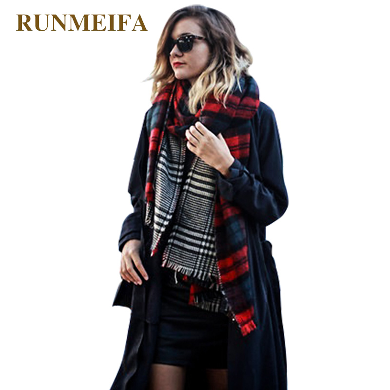 Winter Brand Women's Cashmere Scarf Plaid Oversized Double Faced Plaid Multi Function Thicken Warm Cape Shawl Free Shipping
