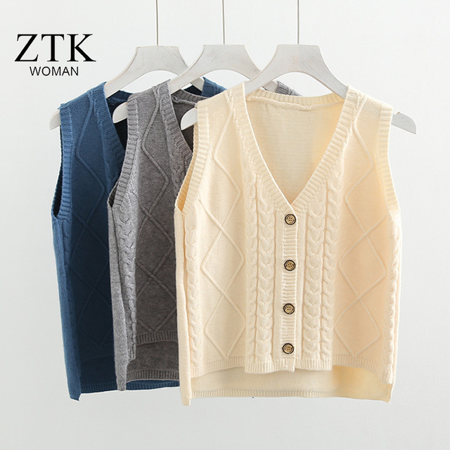 246dbcad5a women Pullover vest 2018 Spring New Korean Style Sweaters with button V  neck vest Retro white Knitting Sweater Vest cardigans