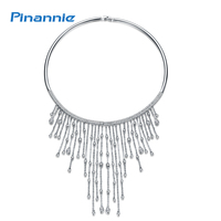 Pinannie Rhodium Plated Cubic Zirconia Luxurious Tassel Necklace Collar Wedding Jewelry for Women
