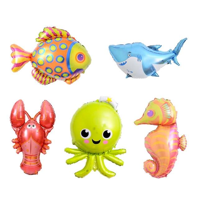 5piecs lot mini ocean fish foil balloons animal balloon for children