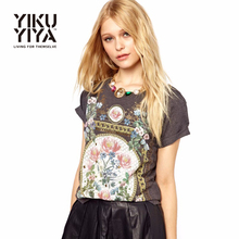 YIKUYIYA Elegant Gray Women T-shirts Vintage Floral Print Tops Black O Neck Short Sleeve Slim Hippie Casual Basic Tees for Women