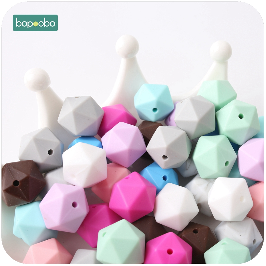 Bopoobo Baby New Silicone Hex Octagonal Beads 17mm 5pc Can Chew Pram Toy DIY Jewelry Nursing Accessories Baby Teether