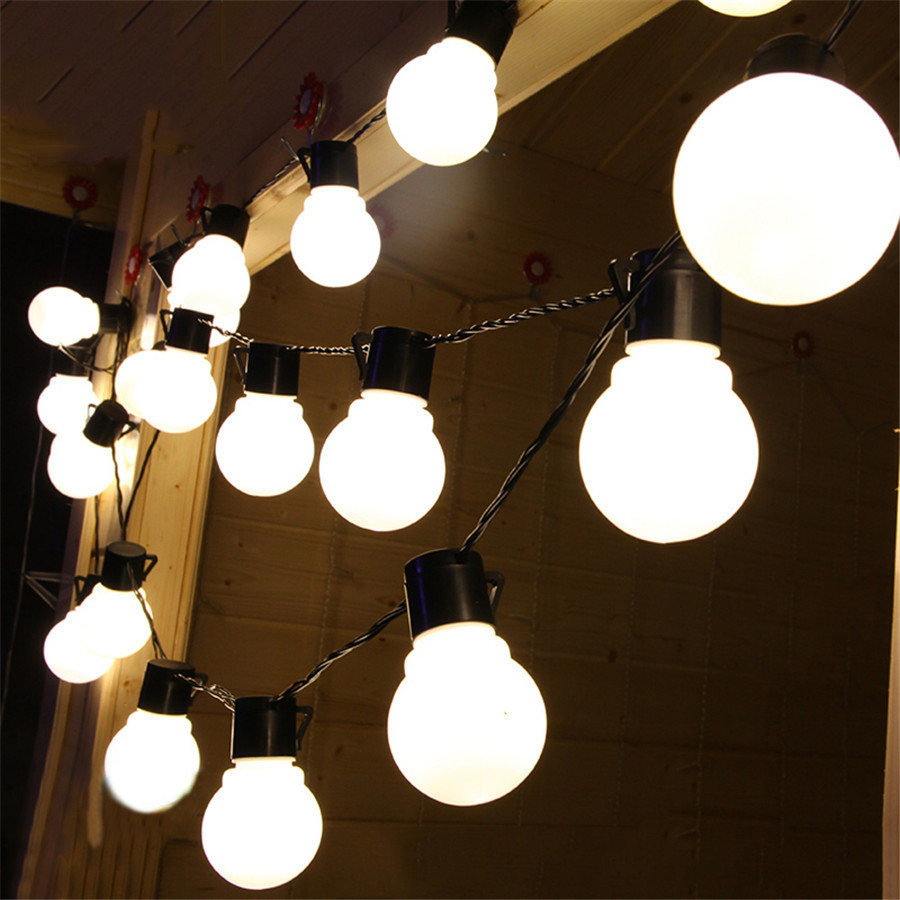 BEIAIDI 5M 10M Milky Festoon Globe Bulb LED String Fairy Light Outdoor Globe Christmas LED String Light Party Wedding Garland 20pcs bulb string light