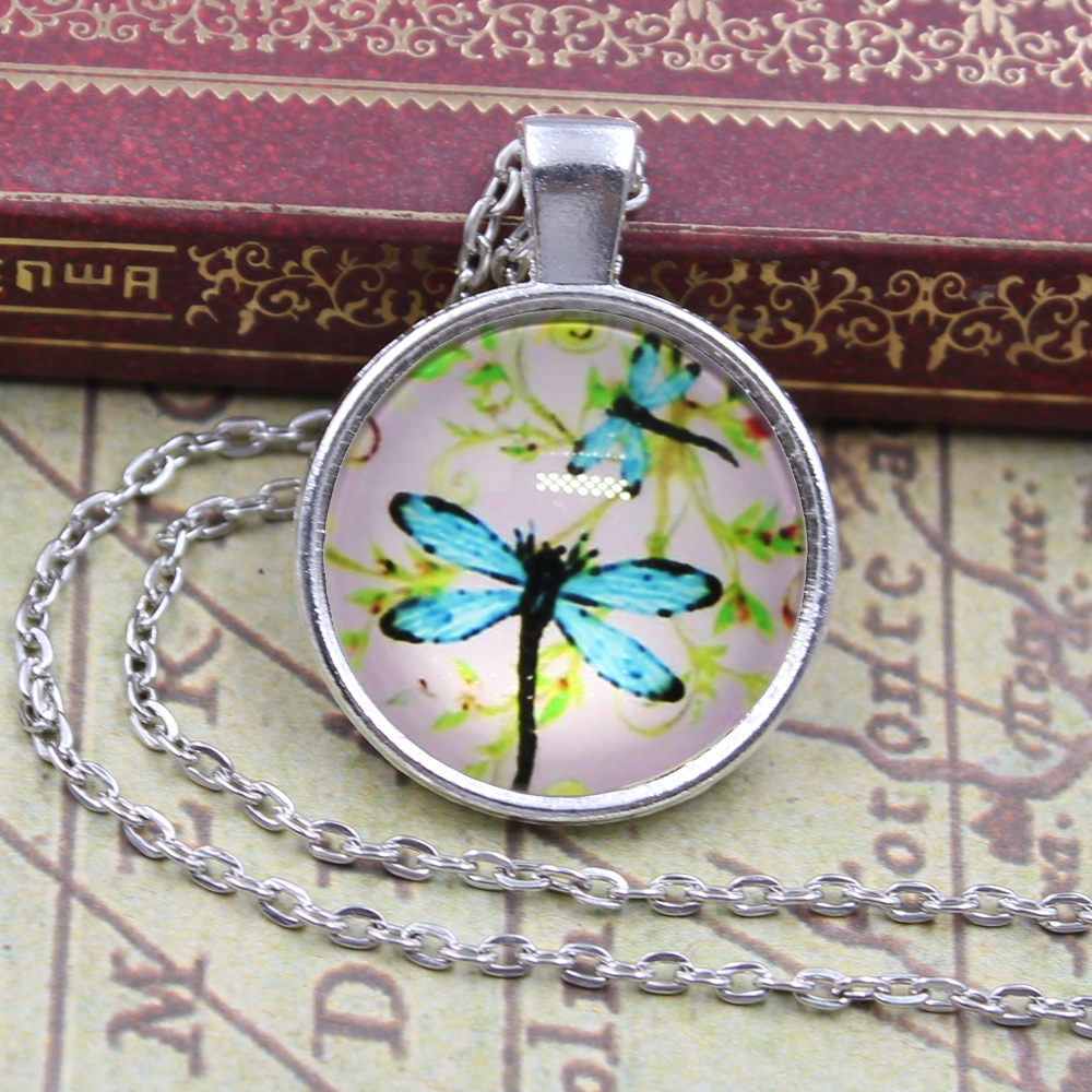 New Brand Jewelry dragonfly flower Charming Glass Cabochon Silver Plated Long Pendant Necklace for Women Gift