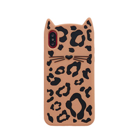 Hongmeng Lovely Cute 3D Soft Silicone Case For IPhone X Cartoon Leopard Print Beard Cat Cover