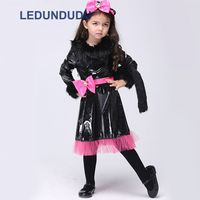 Anime Cat Cosplay Costumes For Children Girls Halloween Party Fancy Suit Kids Black Dress with Cat Tail