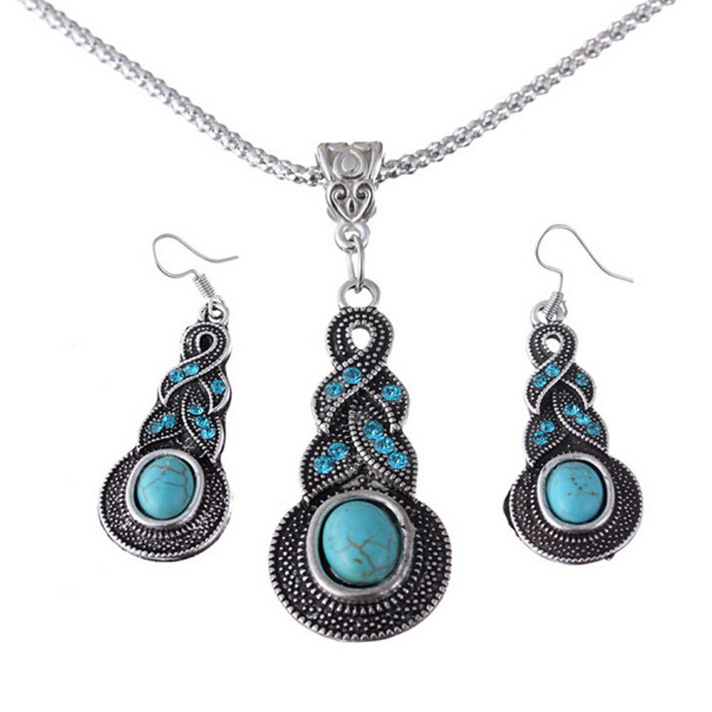 1set Women Water Drops Green Turquoise Chunky Pendant Necklace Earrings Set Classic Vintage Folk-custom 45cm Geometric Free