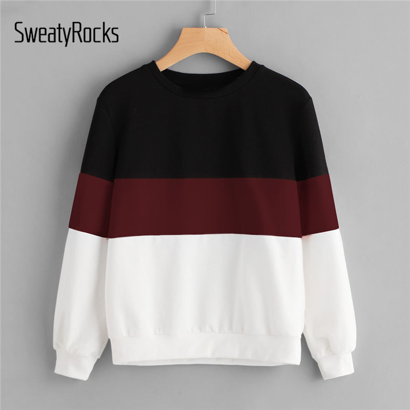 SweatyRocks Cut And Sew Colorblock Pullover Sweatshirt Round Neck Multicolor Long Sleeve Women Clothing Autumn Sweatshirt