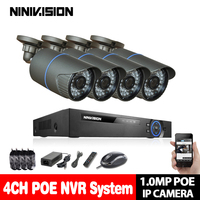 4CH 1080P POE NVR HD CCTV System Set 4PCS 720P Waterproof IP Camera P2P Night Vision