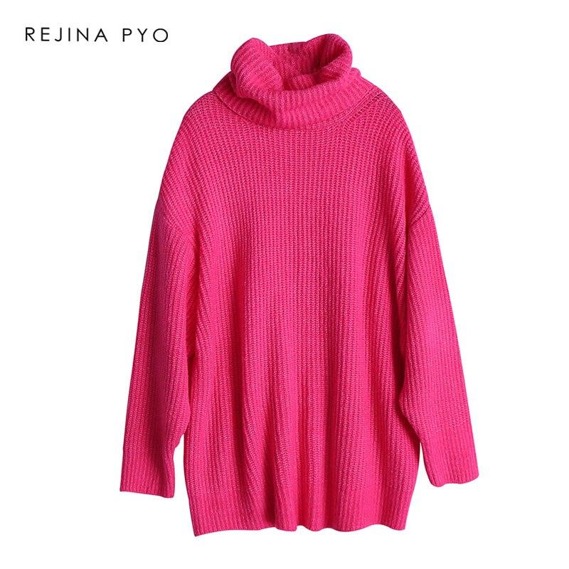 Las Suéteres Alto Rejinapyo Cuello De invierno Mujeres Amarillo Moda Gran  fucsia Otoño Señoras Tamaño Plus Punto ... 977dd79f97cb