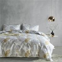 Grey Gold Leaf Pattern 2/3pcs USA Twin Queen King 3 Size Bedding Sets Soft Kids Duvet Cover Set Quilt Cover Bed Set Bedclothes