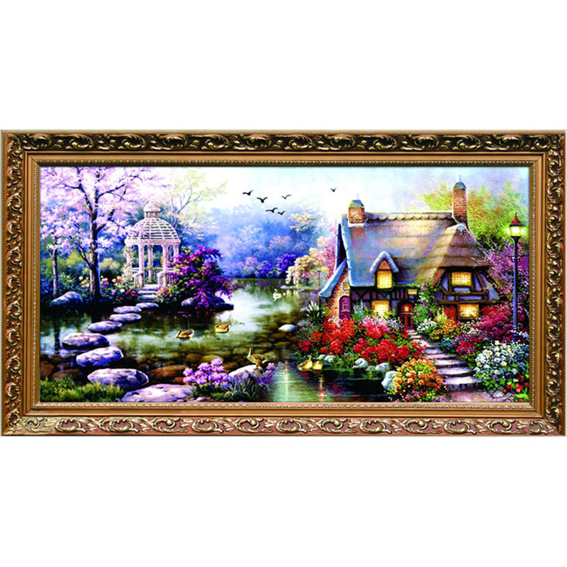 diy handmade cross stitch embroidery kits garden cottage design home decoration needlework cross stitch decor