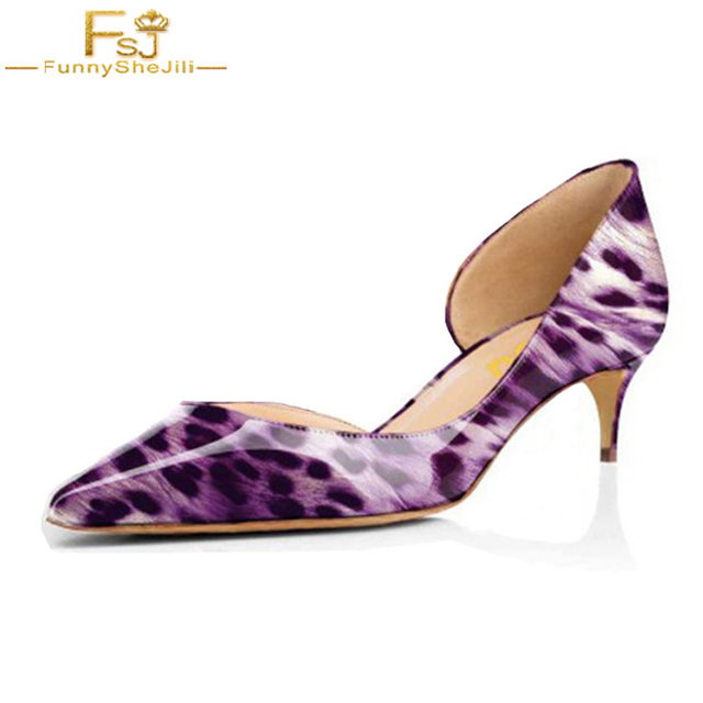 1bd4efcab66 Women s Purple Leopard Print Heels Kitten Heel Pumps Animal Print Pointed  Toe D orsay Shoes Sexy Party Summer 2018 Size 12 FSJ