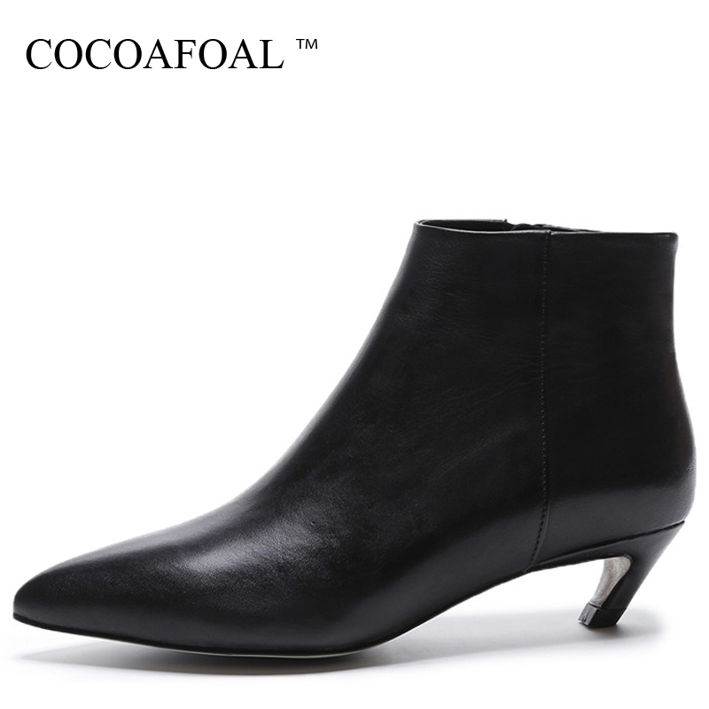 COCOAFOAL Woman Genuine Leather Chelsea Boots Black Autumn Winter Bottine High Heels Boots Plush Pointed Toe Ankle Boots 2018 enmayla autumn winter chelsea ankle boots for women faux suede square toe high heels shoes woman chunky heels boots khaki black