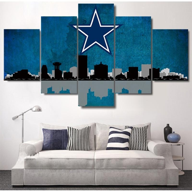 5 Panel Dallas Cowboys Canvas Prints Painting Wall Art Nfl: Dallas Cowboys City Skyline Canvas Prints Painting Wall
