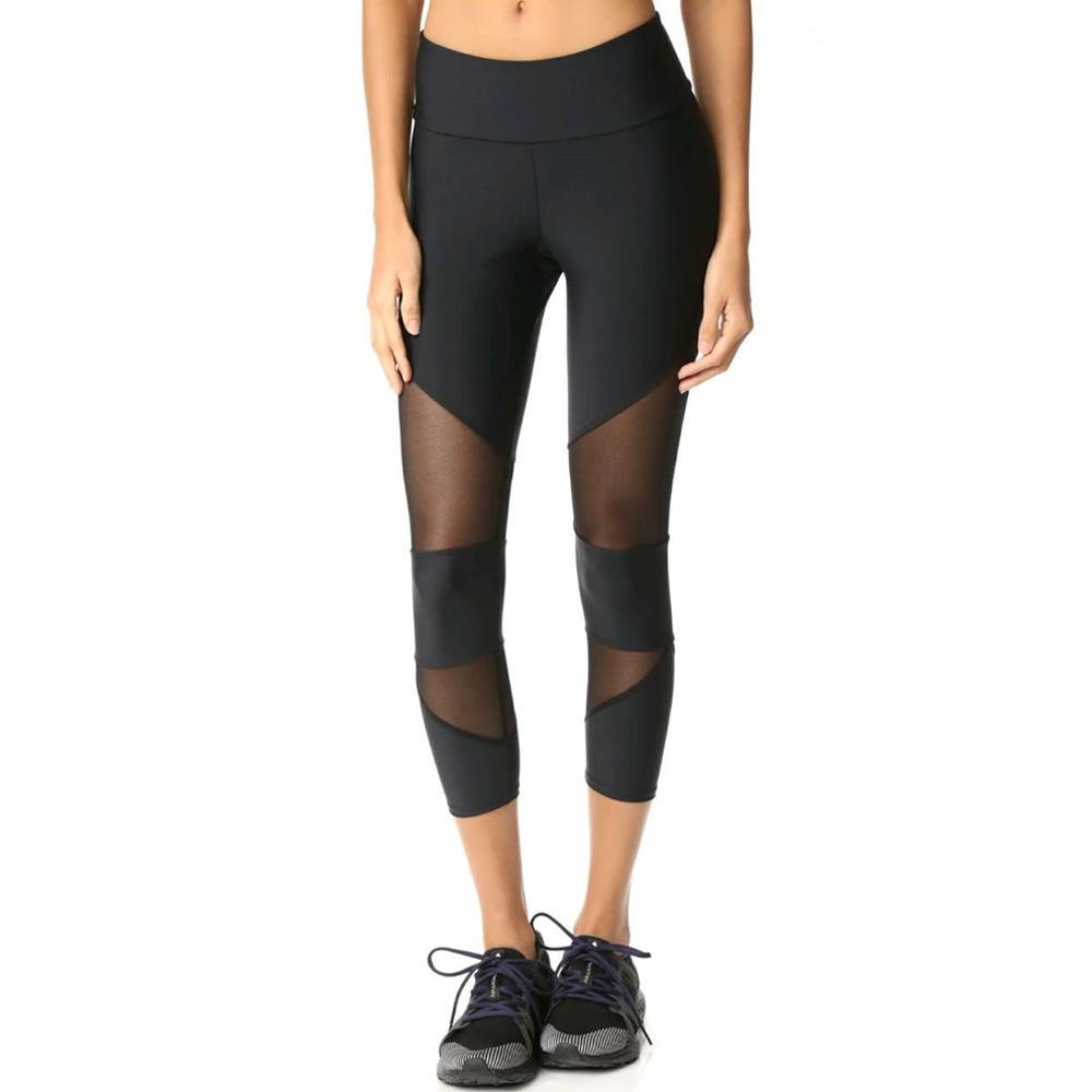 Sexy Women Skinny Leggings Of Patchwork Mesh Yoga Leggings Fitness Sports Pants Skinny