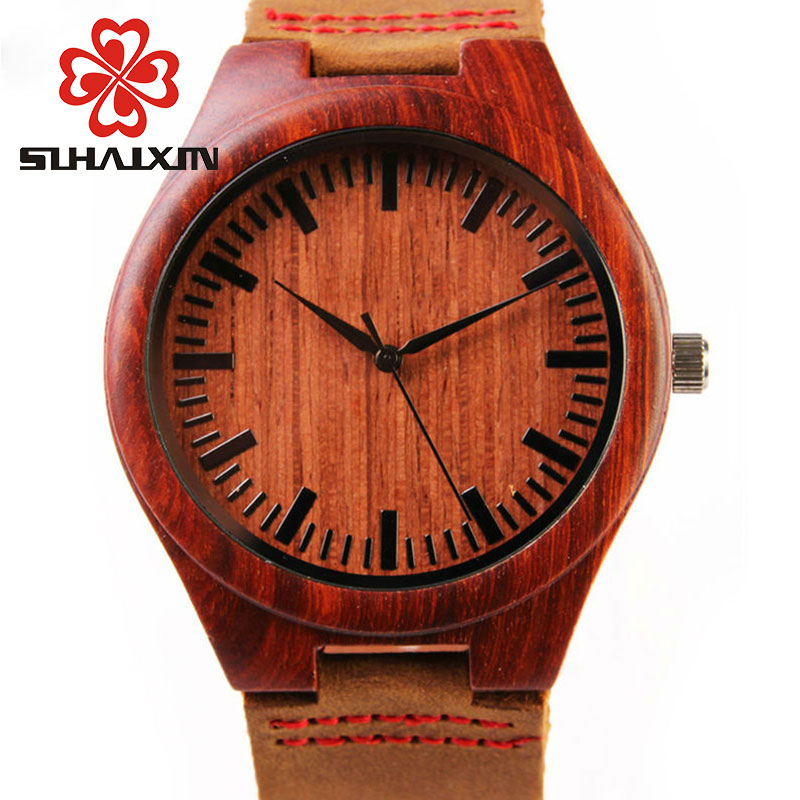 Wood Watch Billige menns Wooden Watch Red ekte Cowhide Leather Band - Herreklokker