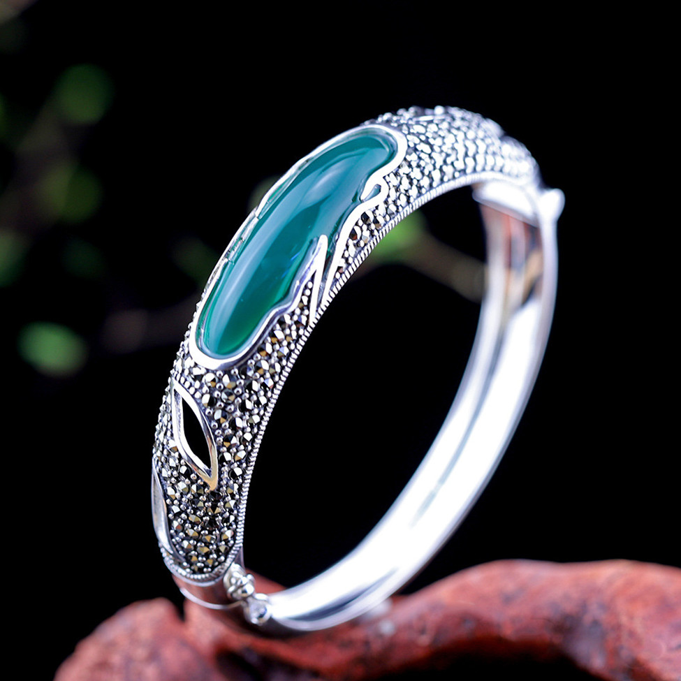 Vintage Luxury Green Chalcedony Bangles For Wome 100% 925 Sterling Silver Bracelets Natural Gemstones Jewelry Female Gifts SB53Vintage Luxury Green Chalcedony Bangles For Wome 100% 925 Sterling Silver Bracelets Natural Gemstones Jewelry Female Gifts SB53