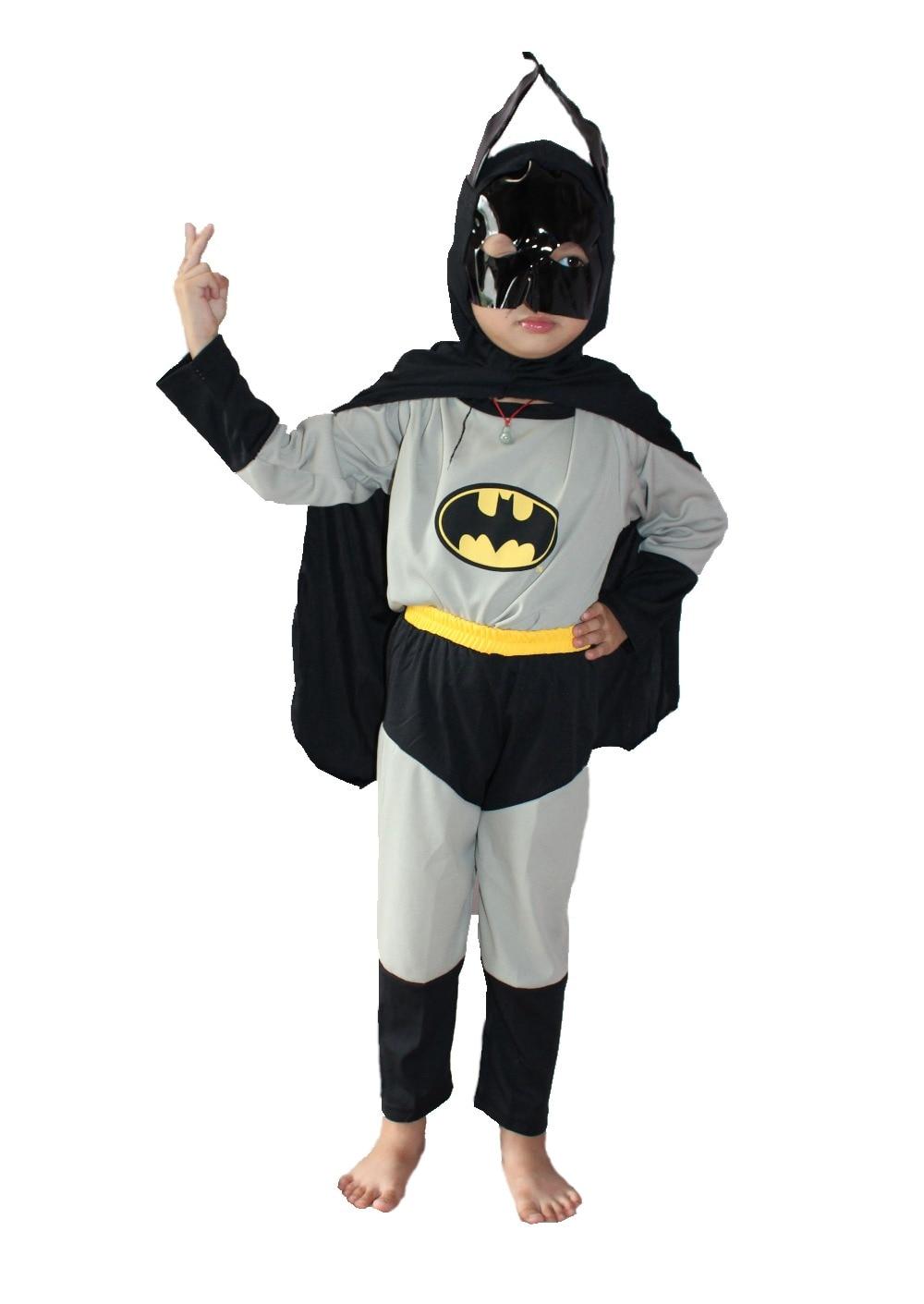Halloween 3-7 ani Copilul gri Picioare & șaluri & 2 costume, Îmbrăcăminte pentru copii, Batman băiat Cosplay