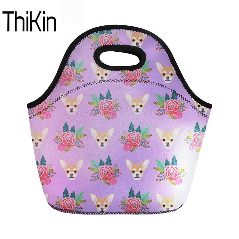 THIKIN Kids Neoprene Lunch Bag Women Thermal Food Handbag Chihuahua Children Girls Cooler Storage Picnic Hand Tote Bolsa Termica