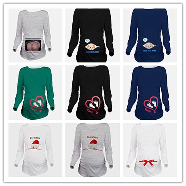 Bebé Nombre Asoma de Maternidad Embarazada Primavera de Manga Larga Camiseta Impresa Tops WLL9206