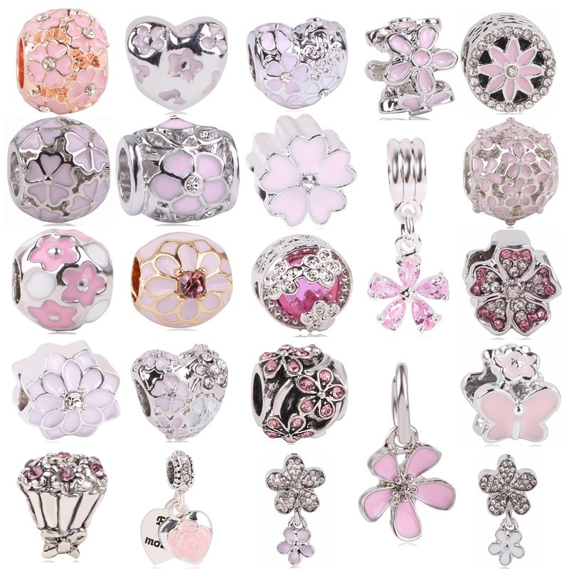 dodocharms Fashion silver European CZ Charm Beads For Pandora Charm Bracelet Pendant Necklace DIY Jewelry Originals Silver
