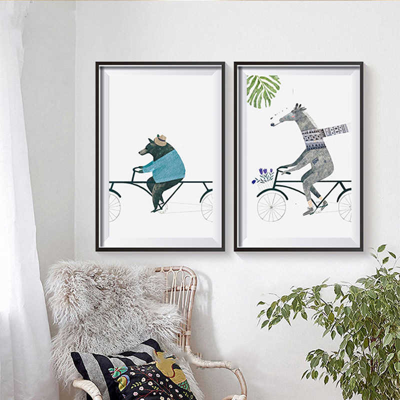 Nordic Style Cartoon Animals Pictures Decor Bedroom Wall Fashion Bear Giraffe Zebra Ride Bike Canvas Painting Posters Art Prints