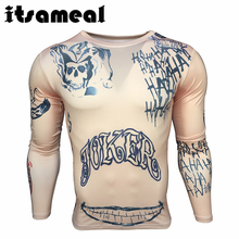 Itsameal Men's T-Shirt Compression of Suicide Squad Harley Quinn Joker Tops Tees 3D Printed Long Sleeve Slim Costumes for Male