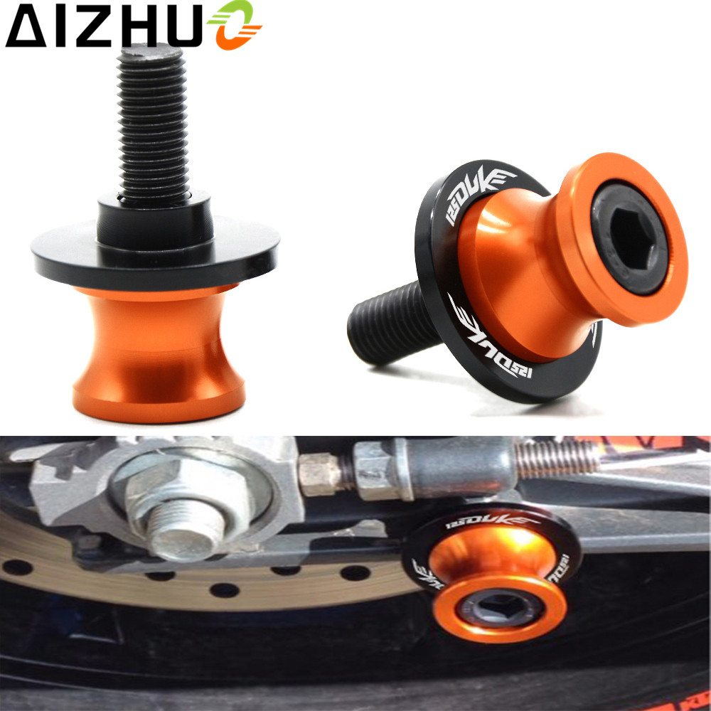 For KTM Duke 390 Motorcycle Accessories 10 Mm Swingarm Slider Spools CNC Aluminum Alloy Stand Screw For KTM Duke390 One Pair hot high quality motorcycle accessories cnc aluminum handlebar risers top cover clamp fit for ktm duke 390 200 125 with ktm logo