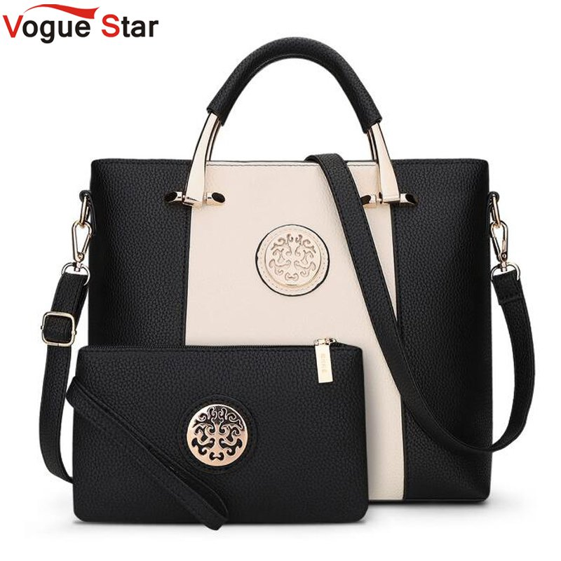 New 2 Bags/Set European And American Style Women Tote Bag Brand Designer Women Messenger Shoulder Bags Handbag And Purse LB463 european and american style designer clutch bag famous brand women clutch rose diamondevening bag chain women messenger bags