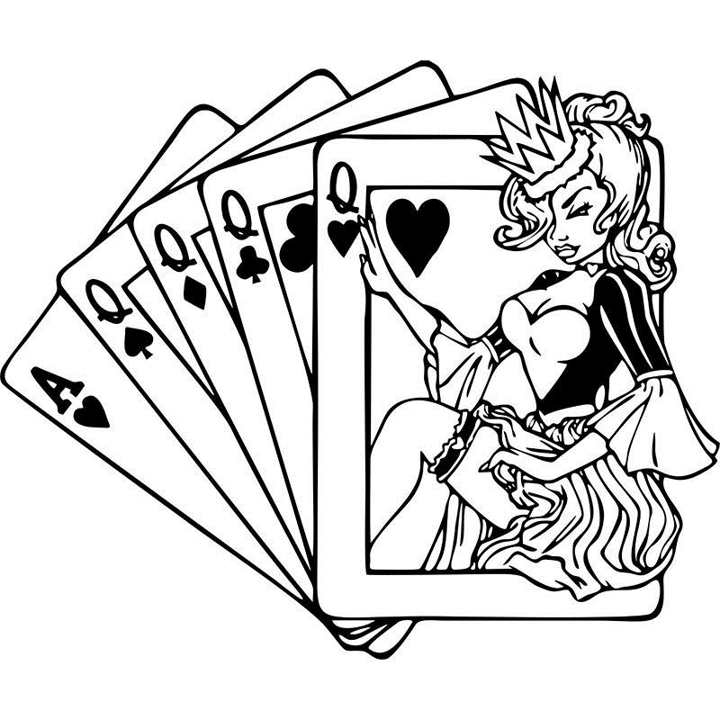 Queen Sexy Girl Take Poker Wall Picture Stickers Beauty Salon Hair Playing Cards -7158
