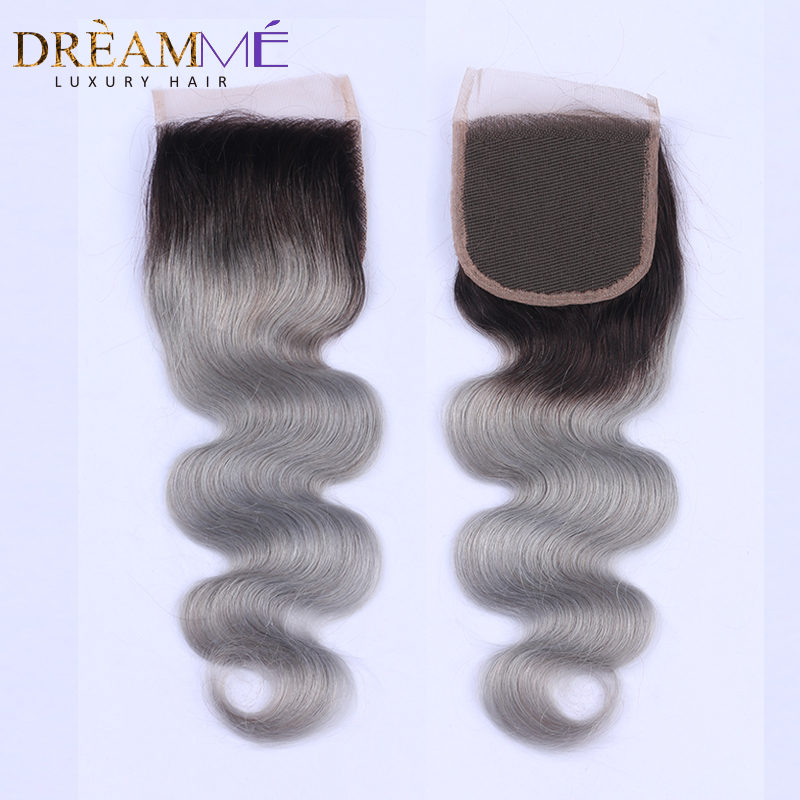 1B/Grey Body Wave Lace Closure With Baby Hair 4x4 Ombre Brazilian Human Hair Closures Three Part Closure Bleached Knots