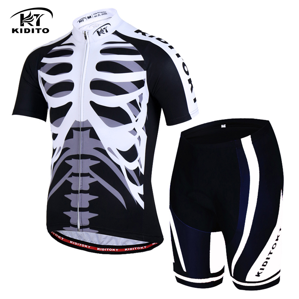 KIDITOKT 2018 Skeleton Cycling Jersey Sets Ciclismo 3D GEL Pad Pants  Breathable Short Sleeve Bike Wear Men Racing Sport Clothes 22062aa51
