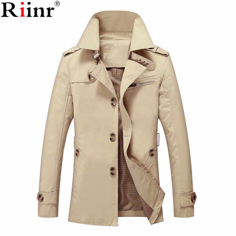 Riinr Мужская куртка, пальто, длинное пальто, модный Тренч Jaqueta мужской жилет Homme, Брендовое повседневное зауженное пальто, куртка, верхняя одежда
