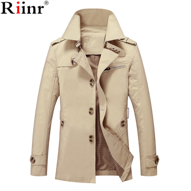 Riinr Men Jacket Coat Long Section Fashion Trench Coat Jaqueta Male Veste Homme Brand Casual Fit Overcoat Jacket Outerwear