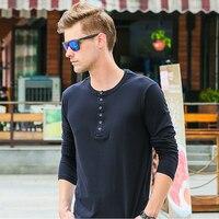 Uomini di strada casuale t-shirt a maniche lunghe fitness all'ingrosso di marca di modo clothing camicie da uomo autunno disegno del tasto slim fit camisas