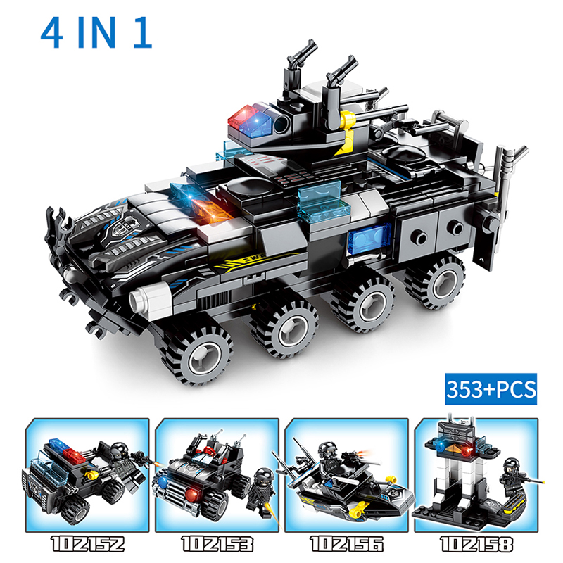 Swat Building Blocks Compatible With Legoingly Block City Police Soldier Trunk Helicopter Toys For Children 8 In 1 Promote The Production Of Body Fluid And Saliva Model Building