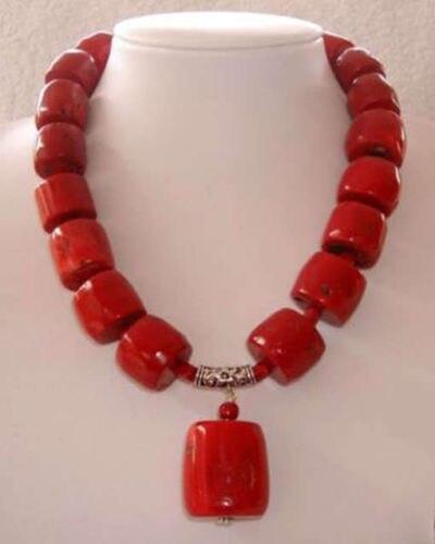 Оригинальный дизайн красный цилиндр естественных коралловых джаспер трубка колонка бусины ожерелье для женщин горячая распродажа мода ювелирных изделий 18 дюймов BV135