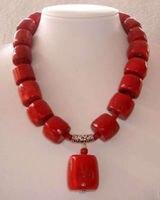 Ursprüngliche entwurf roter zylinder natürlichen korallen stein rohrsäule perlen halskette frauen heißer verkauf modeschmuck 18 inch BV135