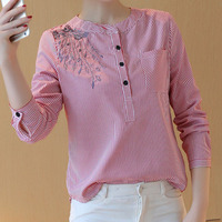2017 Spring Autumn New Striped Shirt Women Fashion Blouses Long Sleeve Loose Casual O Neck Embroidered